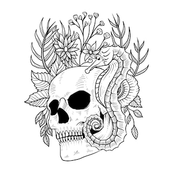 문신 및 티셔츠 디자인 해골 꽃 바다 말 프리미엄 벡터