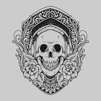 헤드폰과 장미 조각 장식이 있는 문신과 티셔츠 디자인 해골