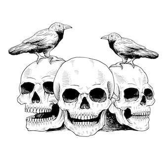 문신과 t 셔츠 두개골과 새