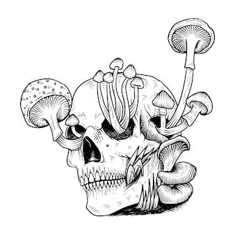 タトゥーとtシャツの頭蓋骨のキノコ