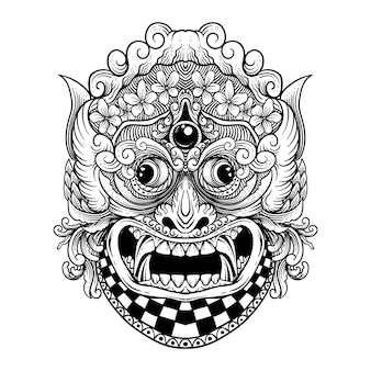 문신 및 티셔츠 디자인 흑백 손으로 그린 rangda barong 발리 프리미엄 벡터