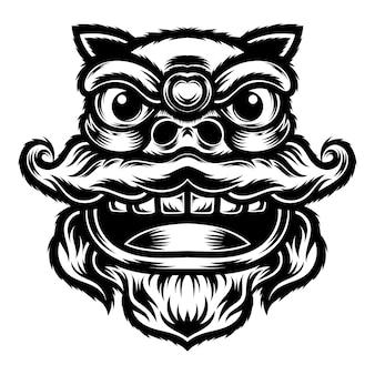Татуировка и дизайн футболки черно-белое лицо танцующего льва