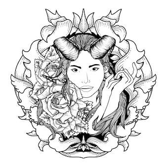 Тату и футболка дизайн дьявола женщины и розы в орнаменте
