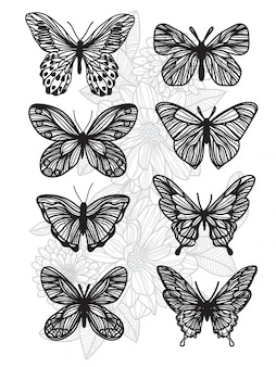 Tattoo art butterfly drawing and sketch with line art illustration isolated on white background.