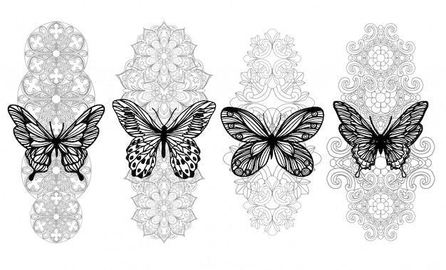 Tattoo art butterfly hand drawing and sketch with line art isolated on white