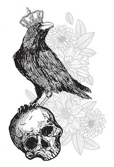 Tattoo art crow wearing a crown on a skull