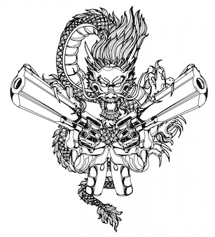 문신 예술 dargon 및 총 손을 그리기 및 스케치 흑백