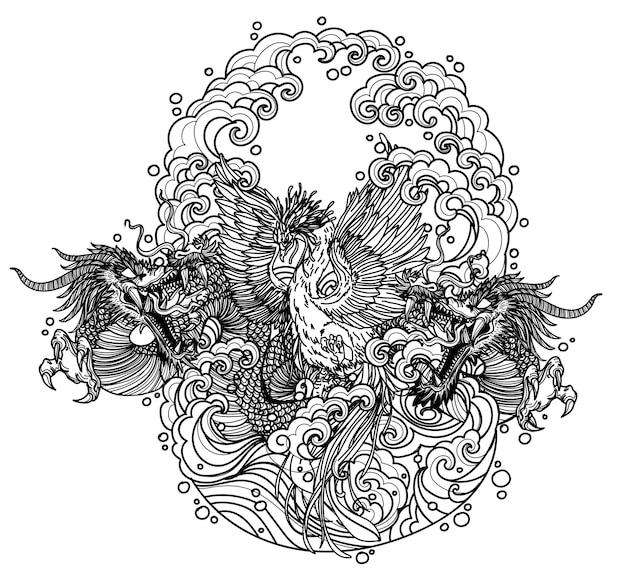 タトゥーアートダーゴンと白鳥の中国手描きスケッチ黒と白