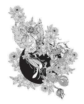 문신 예술 dargon과 백조 중국 손으로 그리기 스케치 흑백
