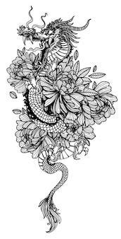 Tattoo art dargon in flower drawing sketch black and white