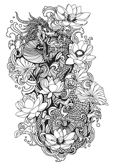 タトゥーアートダーゴンフライと蓮の描画スケッチ白黒