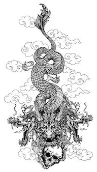 タトゥーアートダーゴンフライと頭蓋骨手描きスケッチ白黒
