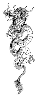 Tattoo art dargon fly hand drawing sketch black and white