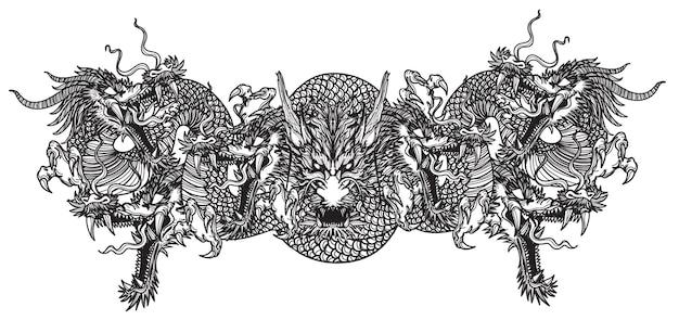 タトゥーアートダーゴン7頭手描きスケッチ白黒