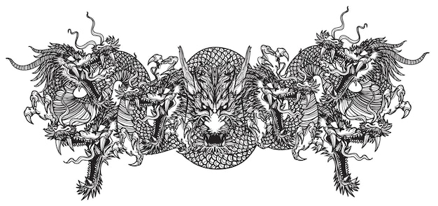 Tattoo art dargon seven heads hand drawing sketch black and white