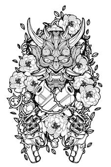 흰색 바탕에 총과 꽃 안에 문신 예술 악마 얼굴.