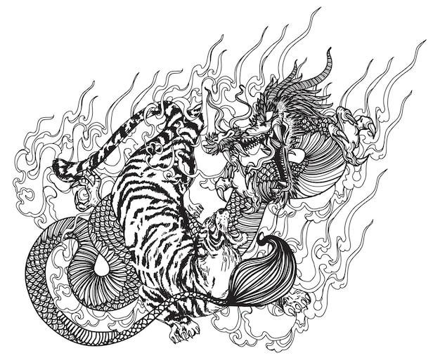 タトゥーアートドラゴンと虎の手描きスケッチ白黒