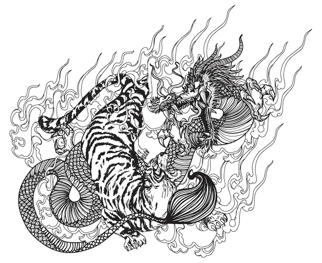Tattoo art dragon and tiger hand drawing sketch black and white