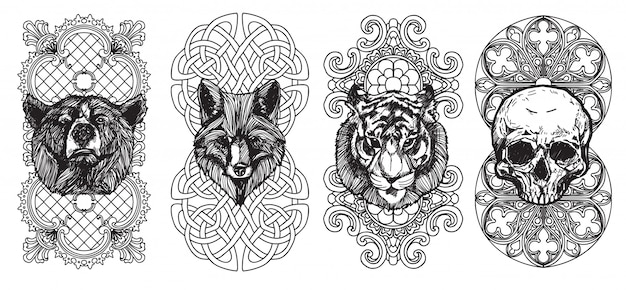 Tattoo art the fox bear and tiger hand drawing and sketch with line art illustration