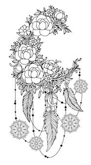 タトゥーアート手描きの黒と白のラインアートイラストとドリームキャッチャー Premiumベクター