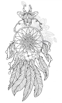 Tattoo art hand drawing dreamcatcher black and white with line art illustration isolated