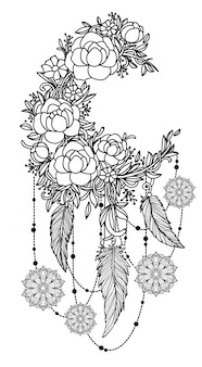 Tattoo art hand drawing dreamcatcher black and white with line art illustration