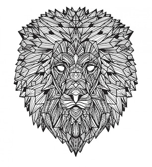 Tattoo art lion hand drawing and sketch black and white with line art illustration isolated