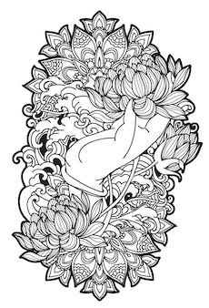 Tattoo art lotus in hand sketch with line art illustration isolated
