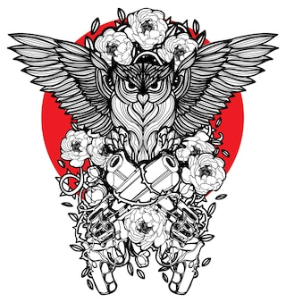 Tattoo art owl and gun hand drawing sketch black and white