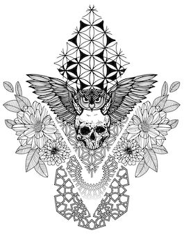 Tattoo art owl and skull flower hand drawing sketch black and white