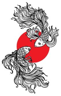 タトゥーアートシャムの戦いの魚の手描きとスケッチ