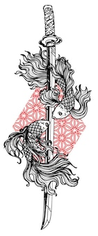 Tattoo art siamese fighting fish and sword hand drawing and sketch