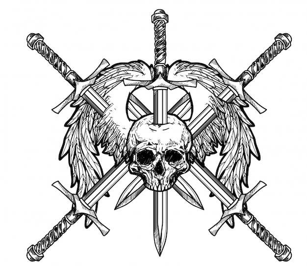 Tattoo art skull_and sword hand drawing