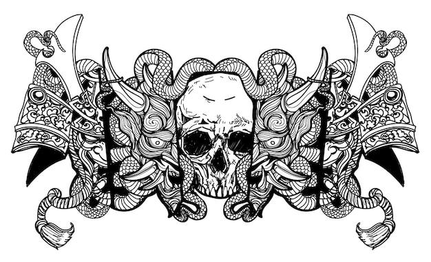 タトゥーアート頭蓋骨悪魔マスクとヘビの描画スケッチ白黒