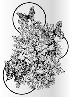 タトゥーアート頭蓋骨の花と蝶の手描きと黒と白のスケッチ