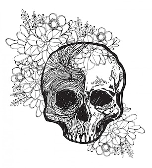 Tattoo art skull and flower hand drawing and sketch black and white