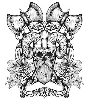 문신 예술 해골 손 그리기 및 스케치 흑백 프리미엄 벡터