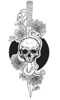 Tattoo art skull snake on japanese sword