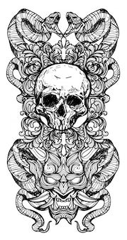 Tattoo art skull and snakes hand drawing