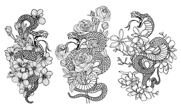 문신 예술 뱀과 꽃 그리기 및 스케치 흑백