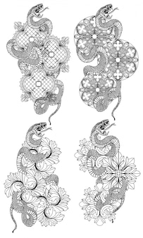 Tattoo art snake hand drawing and sketch black and white with line art illustration