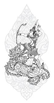 タトゥーアートタイの天使の鳥のパターン文学手描きスケッチ