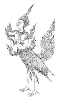 タトゥーアートタイ鳥パターン文学手描きスケッチ