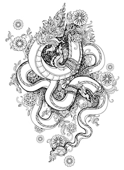 タトゥーアートタイダーゴン花手描きとスケッチ黒と白