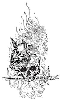 タトゥーアートタイの巨人と悪魔のマスク花柄文学手描きスケッチ