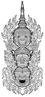 タトゥーアートタイ猿巨大パターン文学手描きとスケッチ白黒