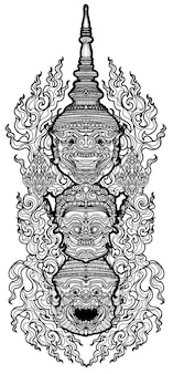 Tattoo art thai monkey giant pattern literature hand drawing and sketch black and white