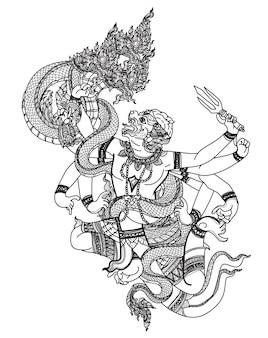タトゥーアートタイ猿パターン文学手描きとスケッチ白黒