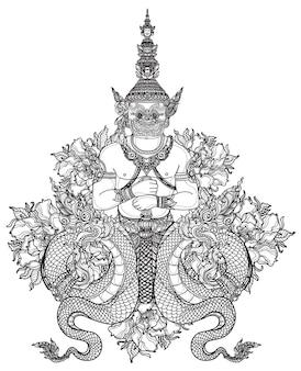 タトゥーアートタイのヘビと巨大なパターン文学手描きスケッチ