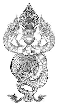 Tattoo art thai snake and giant pattern literature hand drawing sketch